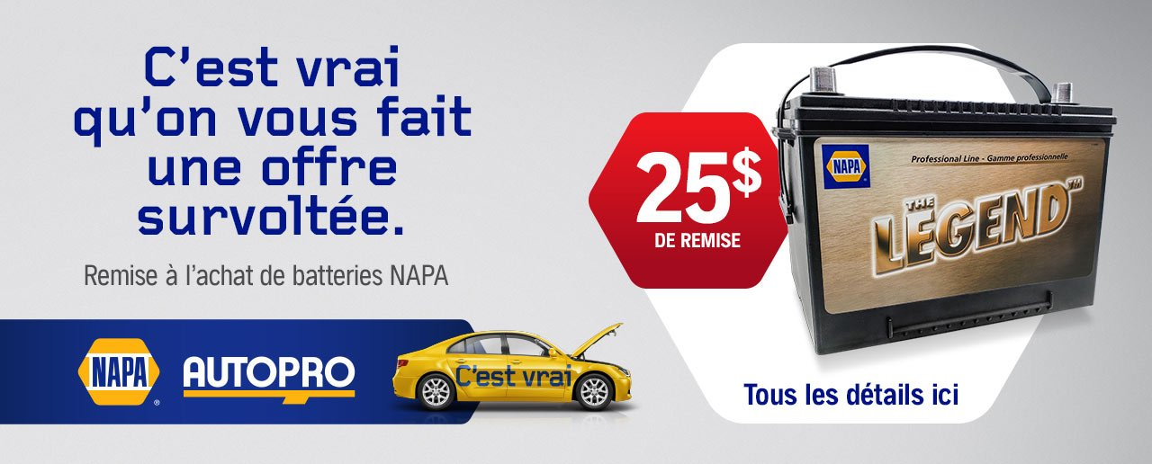 Promotion sur les batteries NAPA AUTOPRO